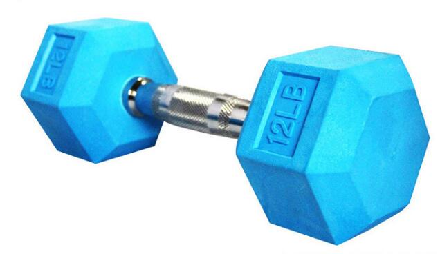Colored Rubber Coated Hex Dumbbell (LB)