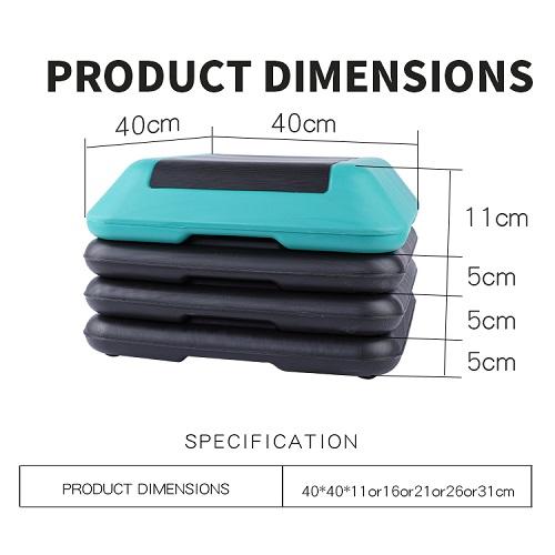 Adjustable High Step Aerobic Platform with 4 Risers