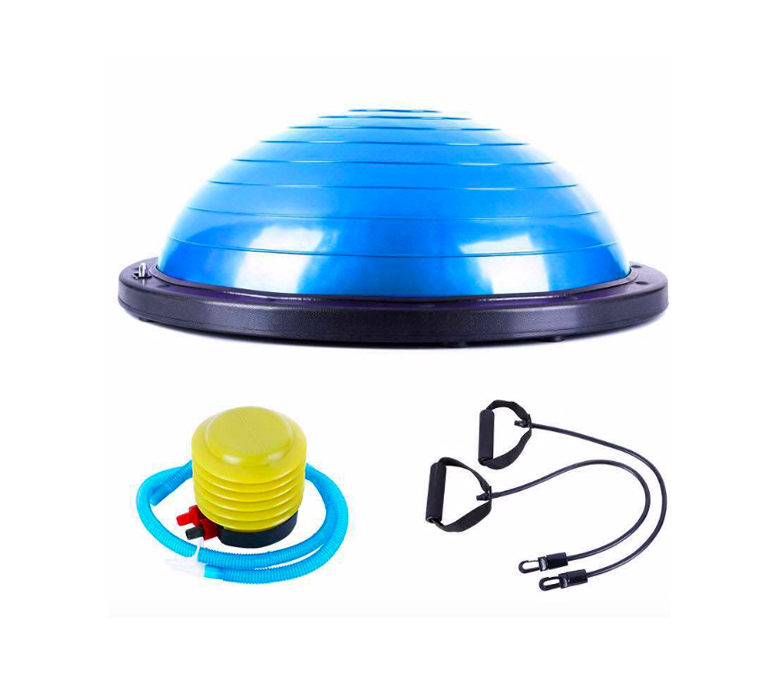 Durable BOSU Ball with Resistance Bands and Pump
