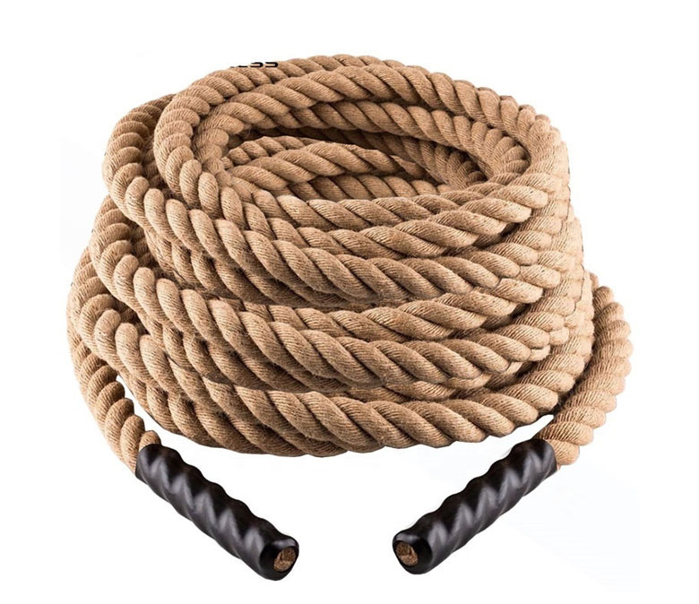 38mm Premium Gym Jute Power Training Hemp Climbing Battle Ropes with Hook