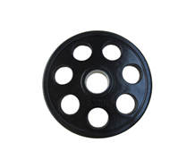 Black Seven Holes Rubber Coated Barbell Weight Plate